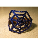 BRACELET BLUE LEATHER RHINESTONE BLING SPIDER W... - $12.99