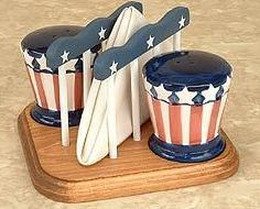 Salt  Pepper Shakers - Napkin Holder w/Stand