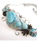 The Pond - Carved Amazonite Frog and Tadpoles w... - $285.00