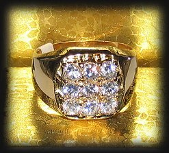 Men's Sparkling Clear CZs Ring Yellow Gold Size 13 New