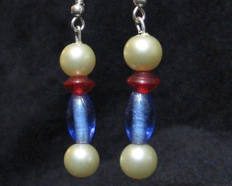 Red White and Blue Dumbell Earrings