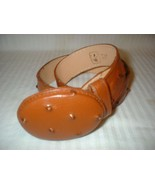 Brown Leather Belt Ostrich Grain Leather Belt S... - $10.99