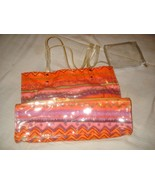 Large Vinyl Tote Shopping Bag Colorful NEW - $10.35