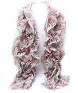 Floral pink ruffled skinny fashion women's scar... - $15.83