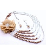 Layered glass pearlsflower brown white necklace... - $18.80