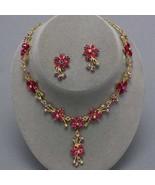 Austrian Crystal Fuchsia AB Evening Necklace Se... - $19.79
