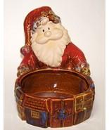 Santa Candy Dish Potpourri Planter Ceramic Rustic - $10.00