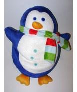 Blue White Penguin Microbead Pillow Plush Stuffed Animal Scarf Winter Christmas - $17.50