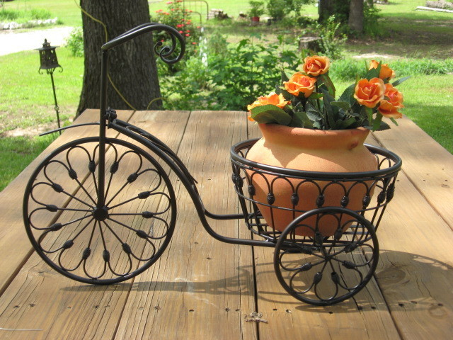 Bicycle plant stand flower pot holder iron bike indoor outdoor home decor - Bicycle planter stand ...