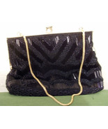 Walbaeg Beaded Purse Black 6 inches Wide - $10.99