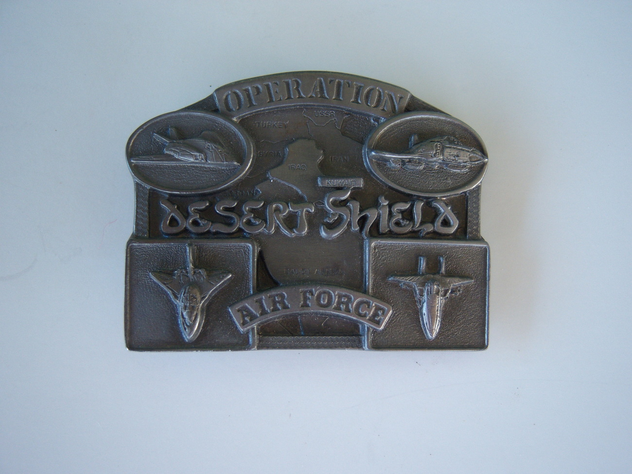Operation Desert Shield Air Force belt buckle 1990 SN# 2176 of 6033 made in USA