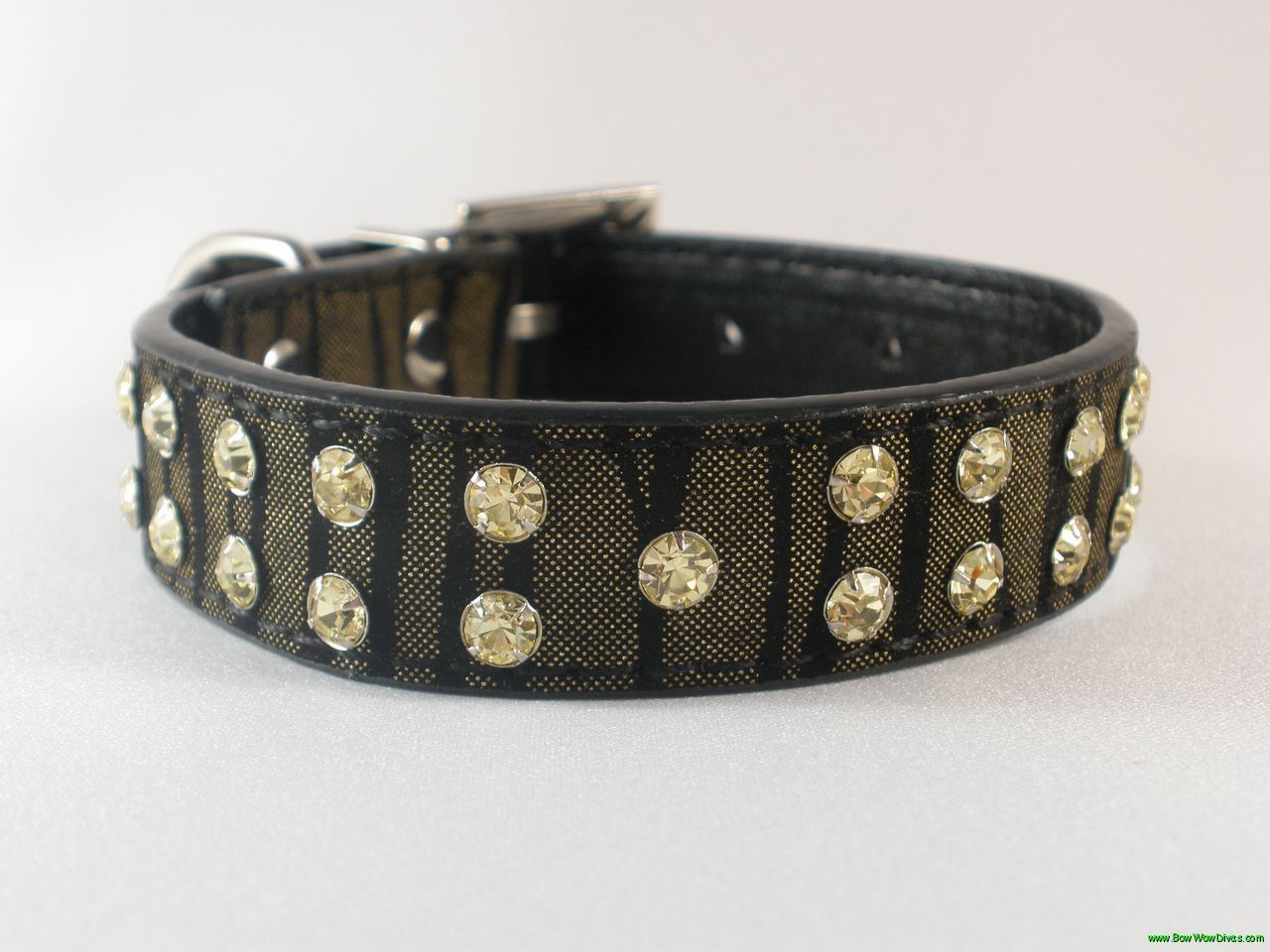 Black and Gold Zebra Leather Dog Collar with Rhinestones