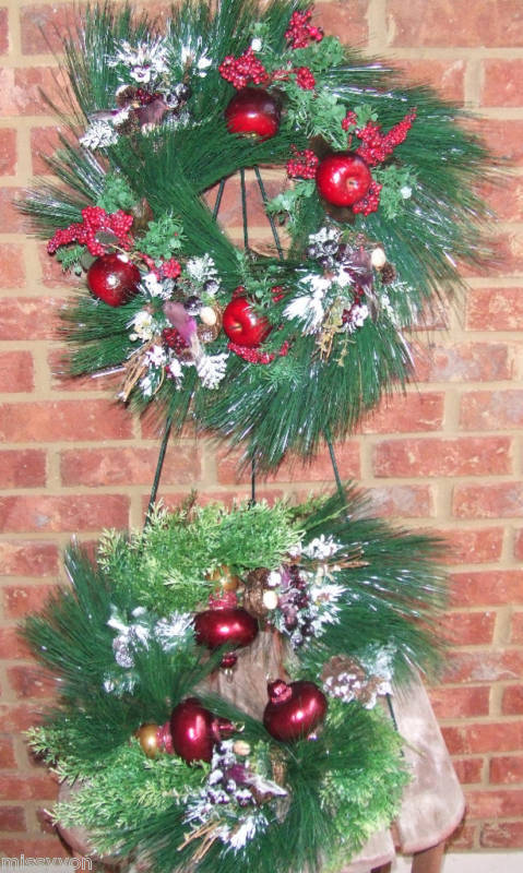 Christmas Decorative Pine Candle Wreaths Set of 2