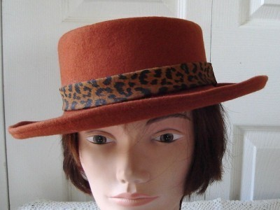 Vintage Rust Felt Women Hat Medium Georgette