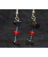 Hematite Dumbbell Earrings with Red Blue and Gu... - $10.00