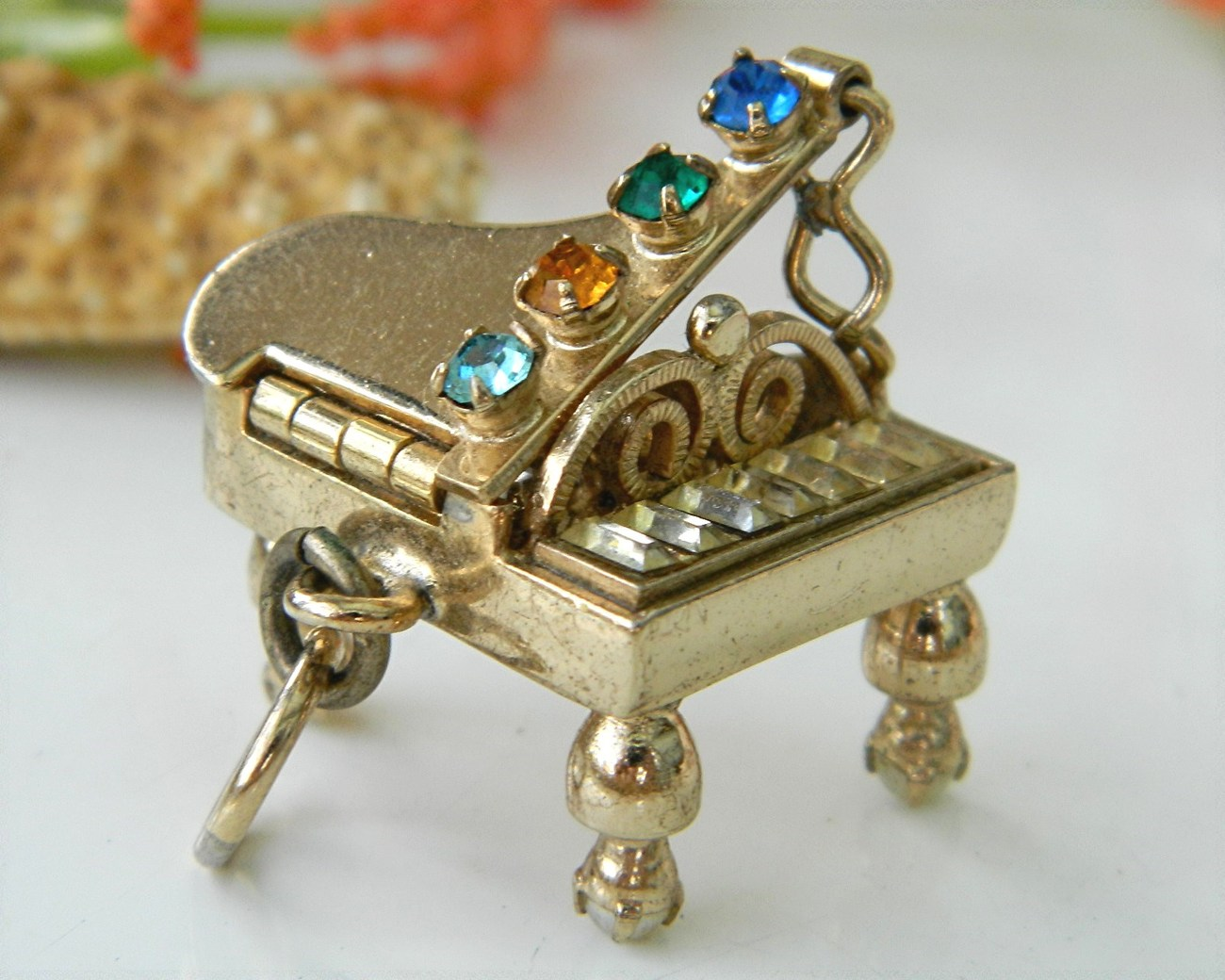 Vintage Grand Piano Charm Pendant Mechanical Rhinestones 3D