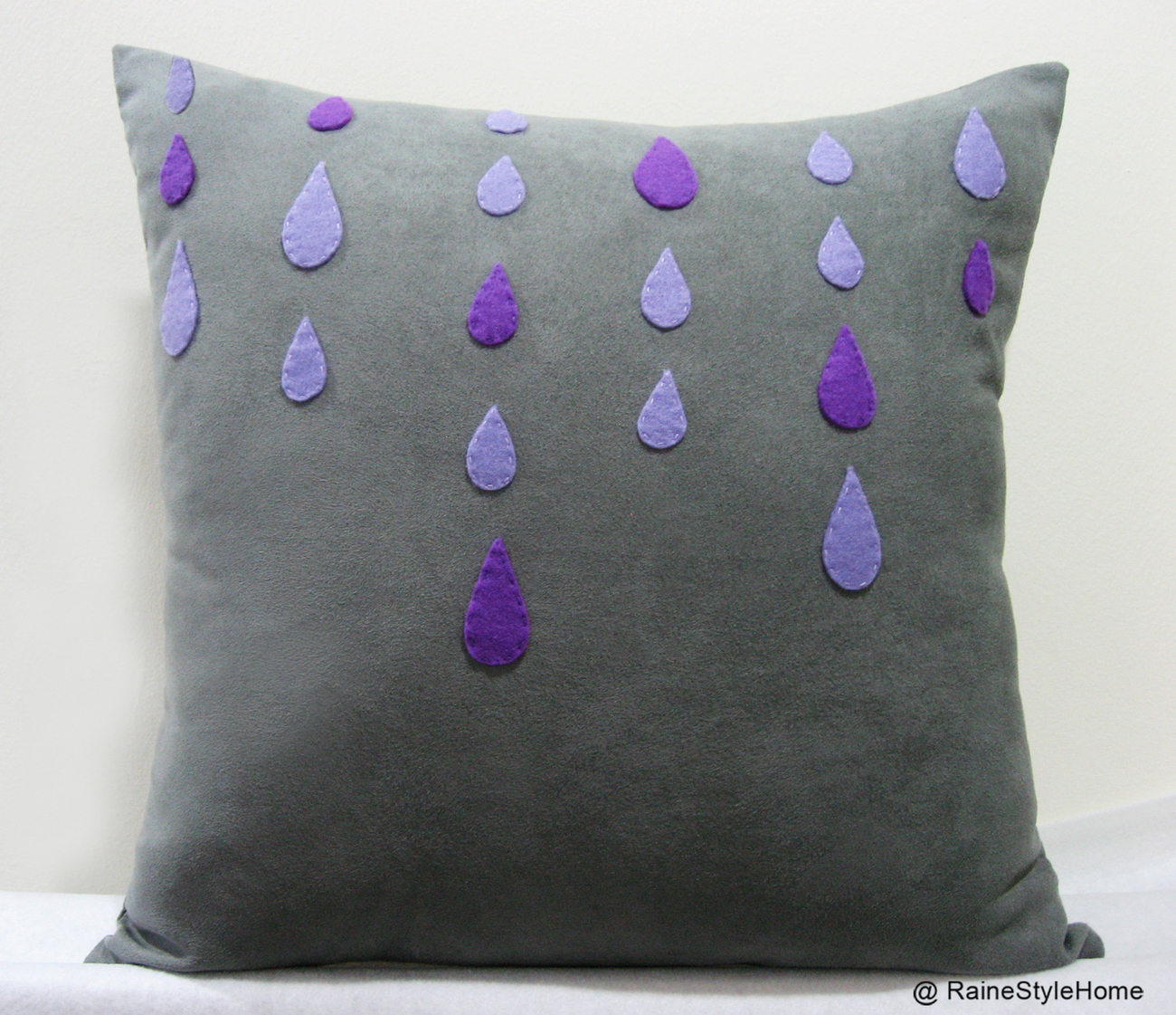 Purple And Gray Decorative Pillows : Purple Rain Grey Rainy Days Grey Pillow Cover. Modern Decorative Raindrops - Pillows