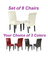 Set of 8 Eco Leather Dining Room Parsons Chairs... - $736.00