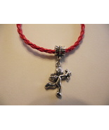 Handcrafted red braided band bracelet with cher... - $6.99