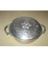 VTG Mid-Century Rose Pattern Hammered Aluminum ... - $22.00
