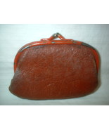Vintage Red Cowhide Leather Change Purse Kiss L... - $7.99