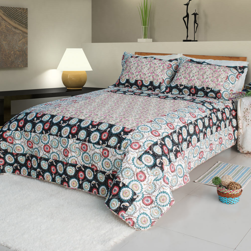 [Alice and Flower]100% Cotton 3PC Patchwork Quilt Set (King)