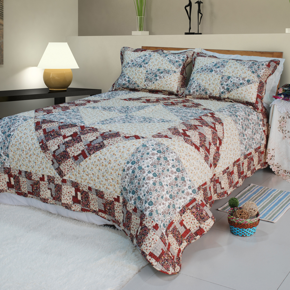 [Floral Journey]100% Cotton 3PC Floral Quilt Set(Full/Queen)