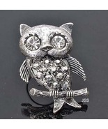 18K Plated White Gold Owl Ring Adjustable - $12.95
