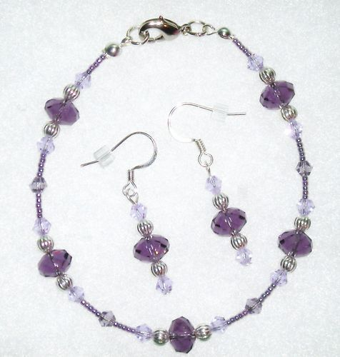 Purple Crystal Glass Bead Bracelet Earring Jewelry Set
