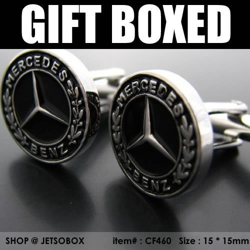 New Gift Boxed Formal Top Gear Benz Silver Cufflinks