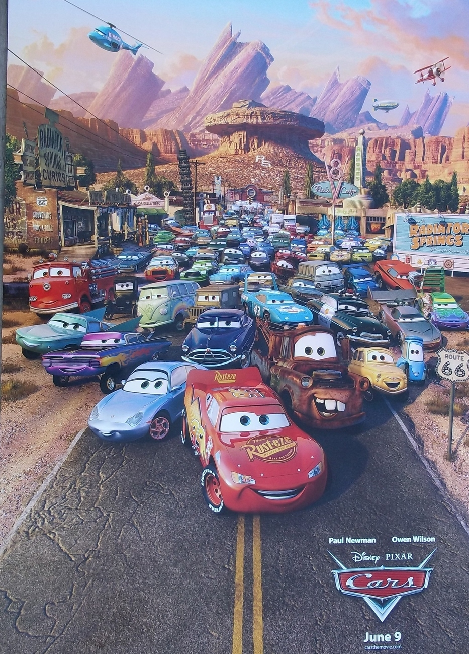 "Creative Illustrat. 27""x40"" Poster. CARS. P.Newman,O.Wilson. DISNEY,PIXAR.Unused"