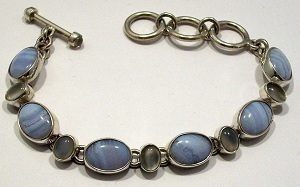 Moonstone Blue Lace Agate Bracelet Gemstone 925 Sterling Silver Jewelry