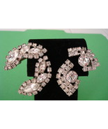 Lot of 2 Vintage 1940&#39;s-1950&#39;s Rhinestone Clip On Earrings-MINT-
