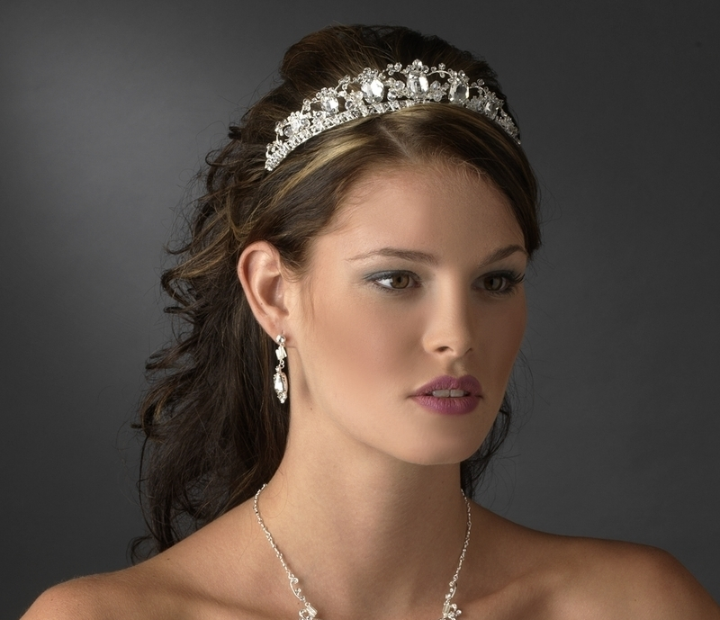 New Silver Plated Rhinestone Galore Princess Bridal Tiara Wedding Crown
