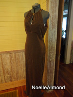 Size 6 Formal Metallic Bronze Full Length Evening Gown W/ Sequin Detail Keyhole
