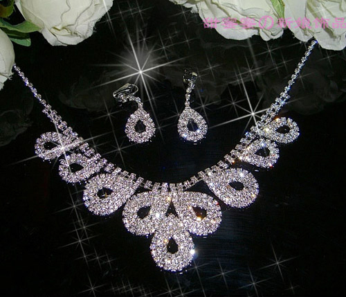 Wedding Bridal Waterdrops Necklace Earring Set Of Swarovski