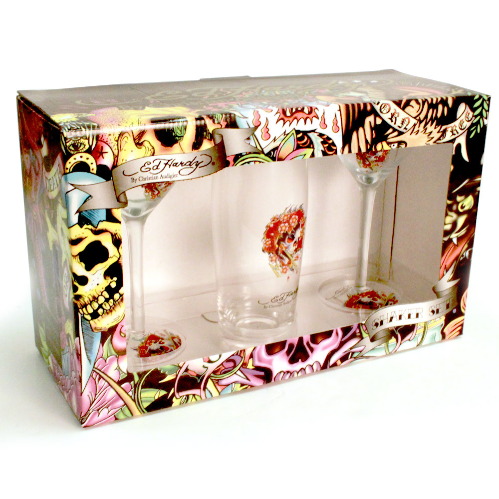 Ed Hardy Martini Set with Shaker and 2 Glasses