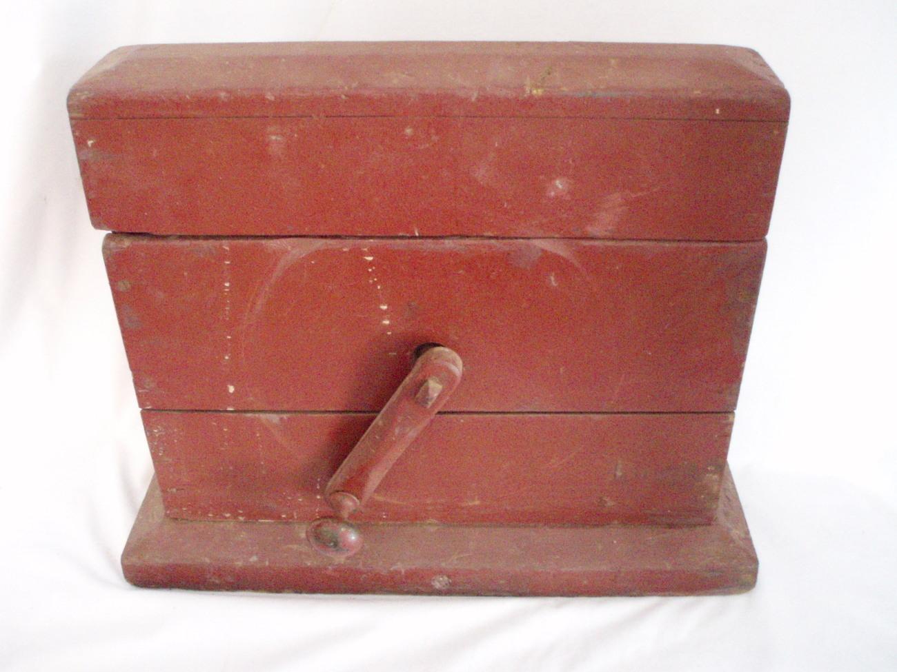Image 1 of Primitive Grindstone hand cranked wood box Antique Tool