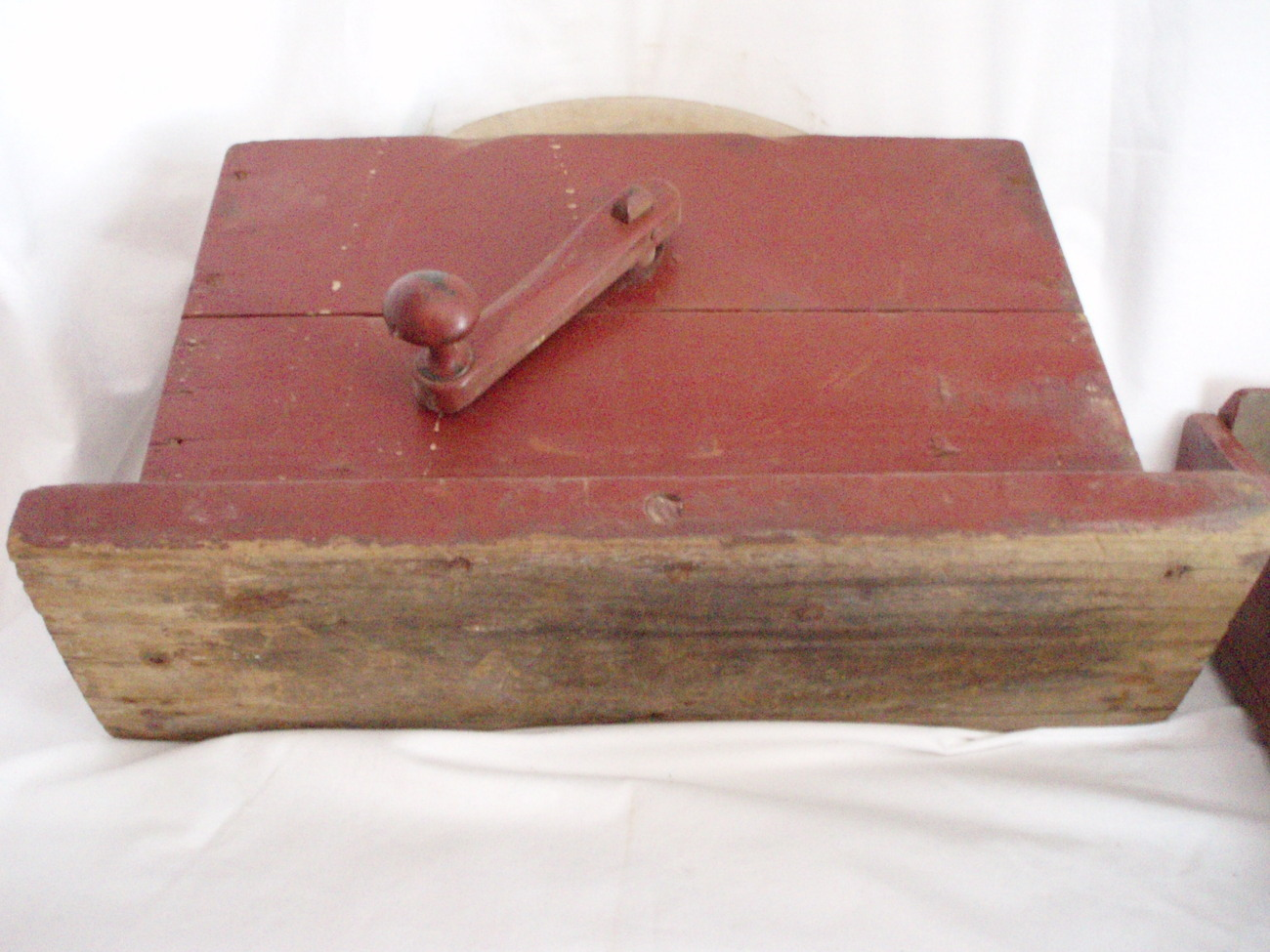 Image 3 of Primitive Grindstone hand cranked wood box Antique Tool