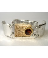 Amber Crystal Brown Semi Precious Stone Bracele... - $120.00