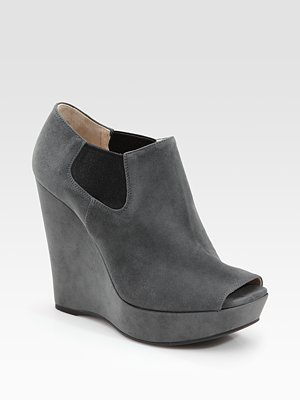 2012 PRADA Grey Suede Open Toe Wedge Ankle Boots EU 40