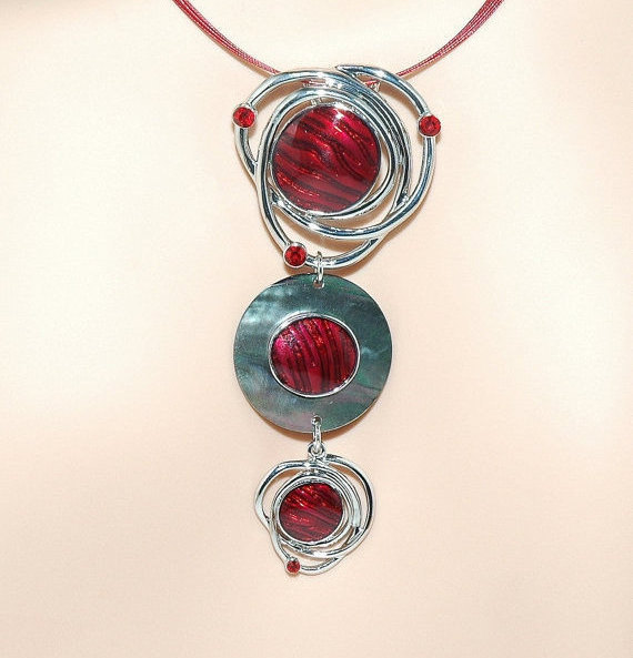 Enamel Circle Red Pendant Rhinestone Choker Necklace