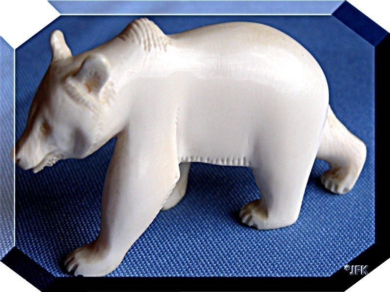 Carved Ivory Figurine IceBear Polar Bear Ivory Pre-Ban German Estate 1930 Big