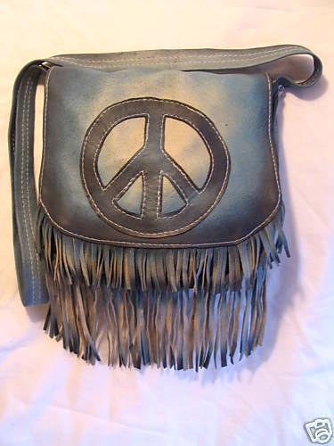 "Leather Purse with Peace Sign and Fringe,10""x12"""