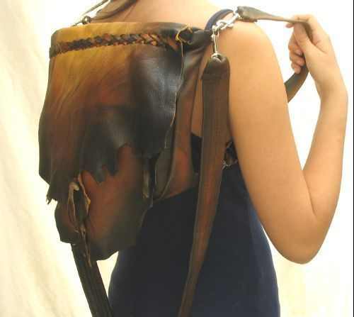 Leather Designer Handbag Bag and Back Pack,Handmade