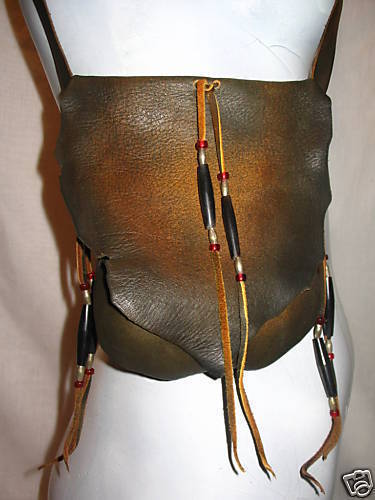 Leather Purse,Distress Crossover Bag,Buffalo Bone Beads