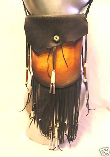 Leather Medicine Bag,Black Deerskin Purse ,Fringe&Beads