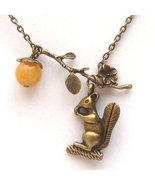 Antiqued Brass Branch Squirrel Honey Jade Necklace - $14.99