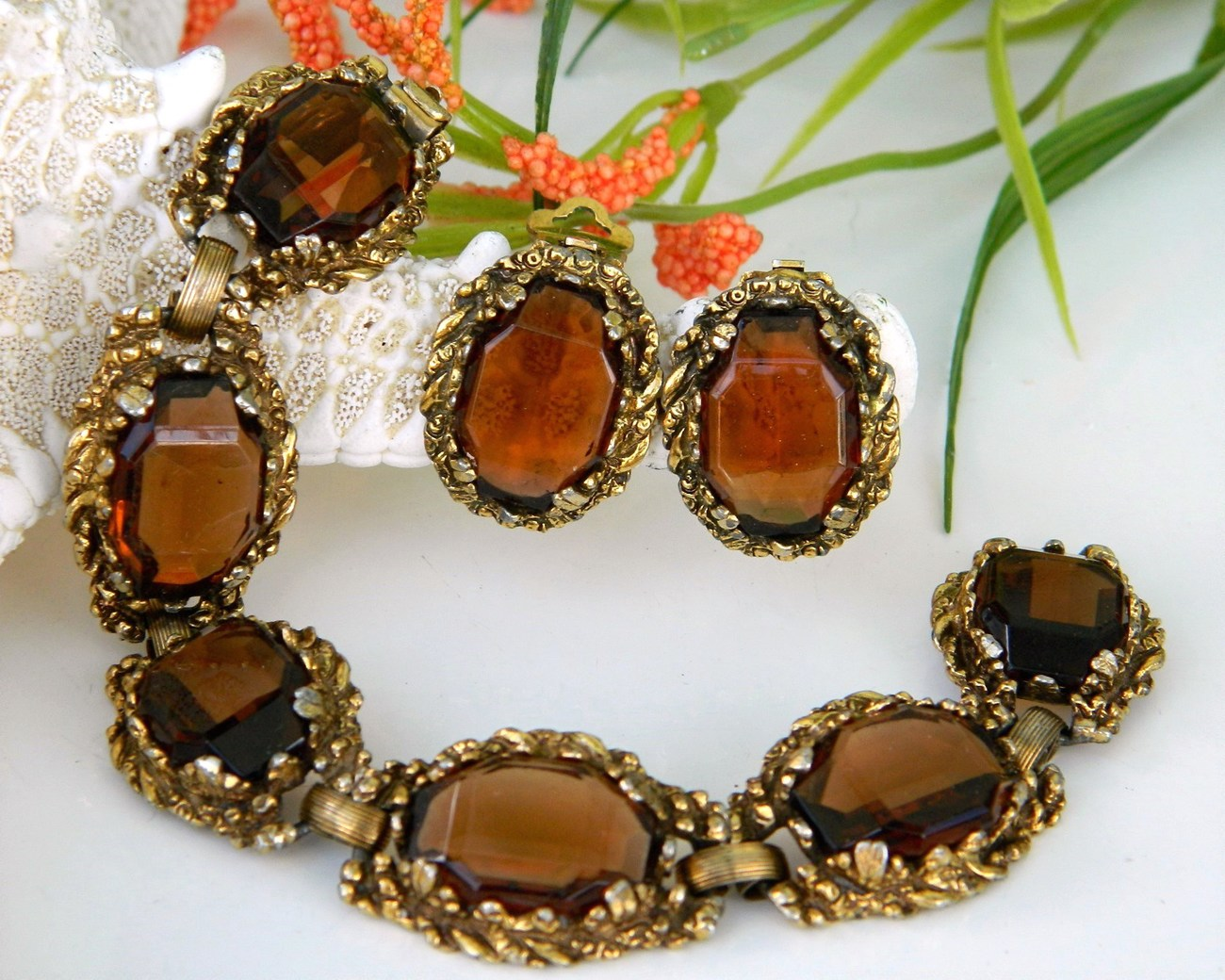 Vintage_smoky_brown_quartz_link_bracelet_earrings_demi_parure