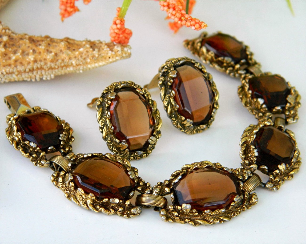 Vintage_brown_smoky_quartz_link_bracelet_earrings_demi_parure